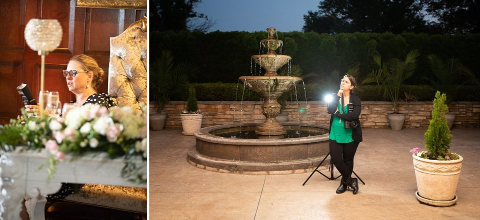 Creeping on the reception…. and getting creative with our posing!