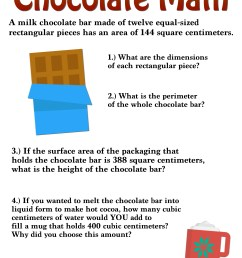 6th Grade Surface Area Activities : Chocolate Math — Mashup Math [ 1375 x 1000 Pixel ]