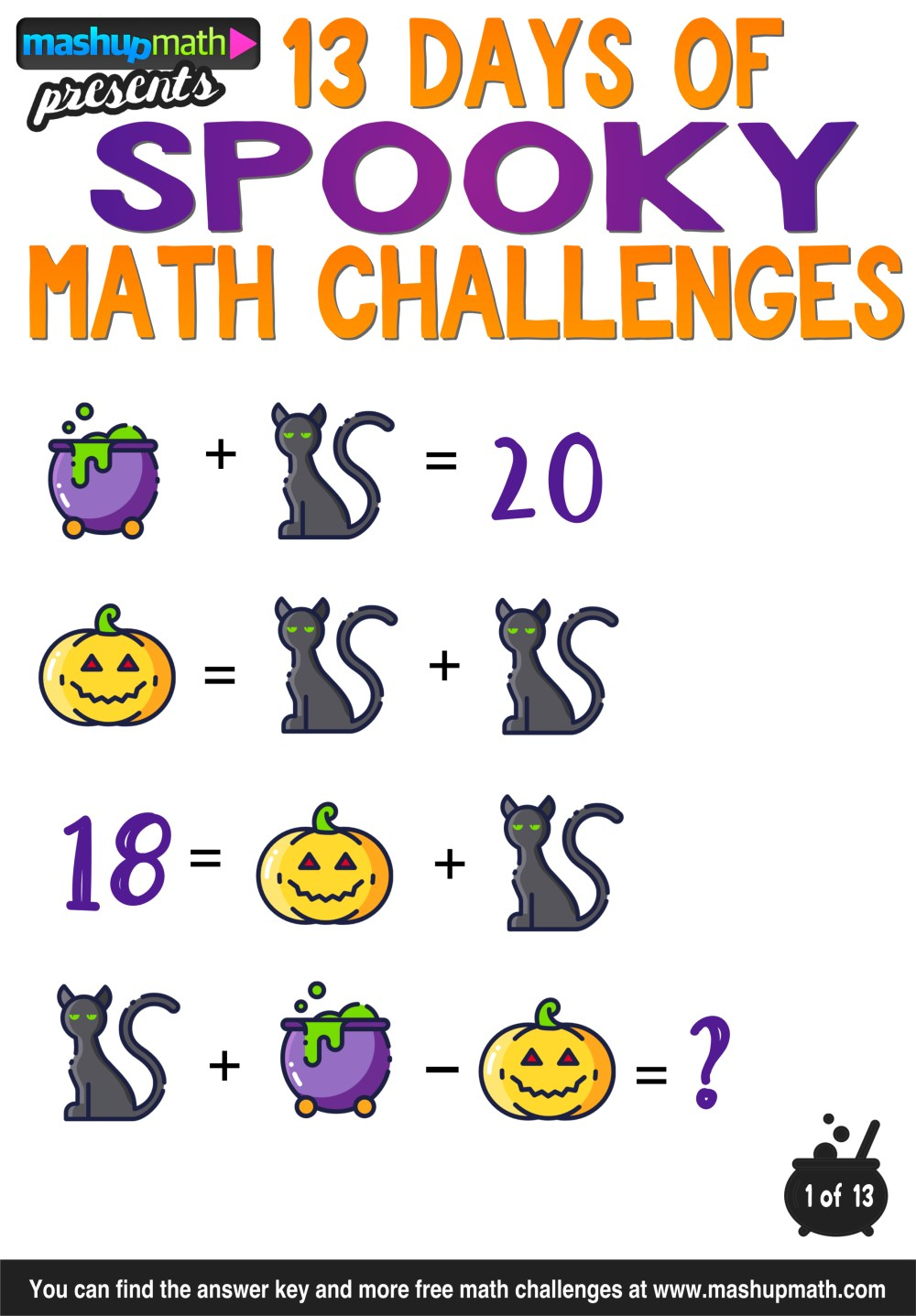 medium resolution of Halloween Math: 13 Days of Spooky Math Challenges for Grades 1-8 — Mashup  Math