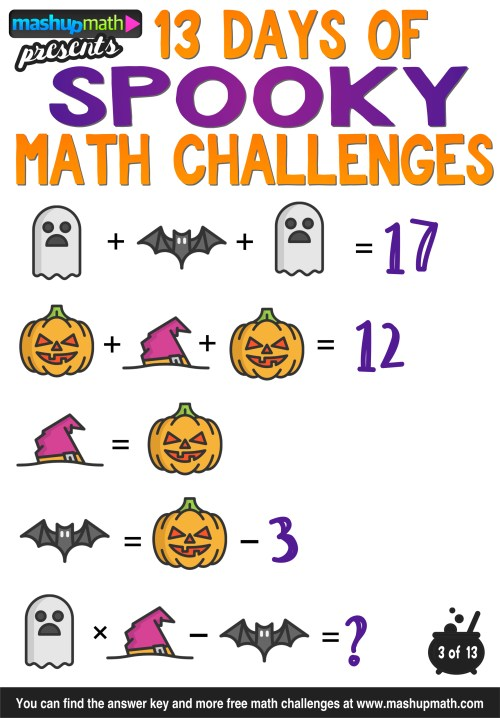 small resolution of Halloween Math: 13 Days of Spooky Math Challenges for Grades 1-8 — Mashup  Math