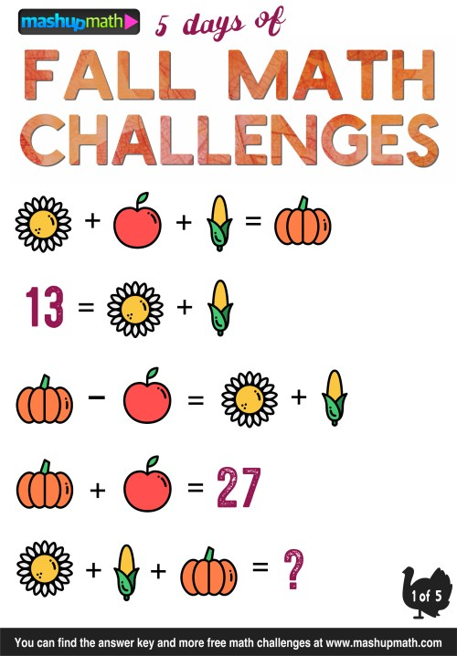 small resolution of Are Your Kids Ready for 5 Days of Fall Math Challenges? — Mashup Math