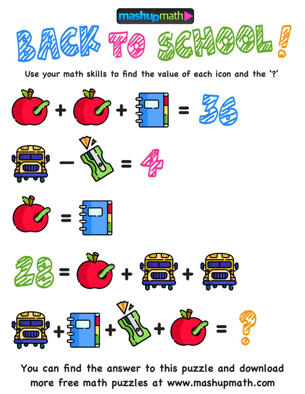 medium resolution of Here Are The Only Free Back to School Math Worksheets You'll Ever Need —  Mashup Math