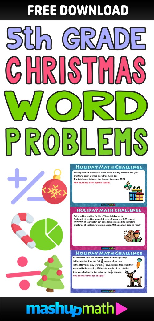 small resolution of The Best Math Christmas Word Problems for 5th grade — Mashup Math