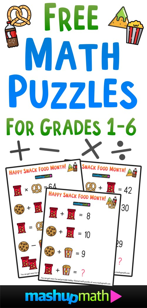 small resolution of Free Math Brain Teaser Puzzles for Kids in Grades 1-6 to Celebrate Snack  Food Month! — Mashup Math