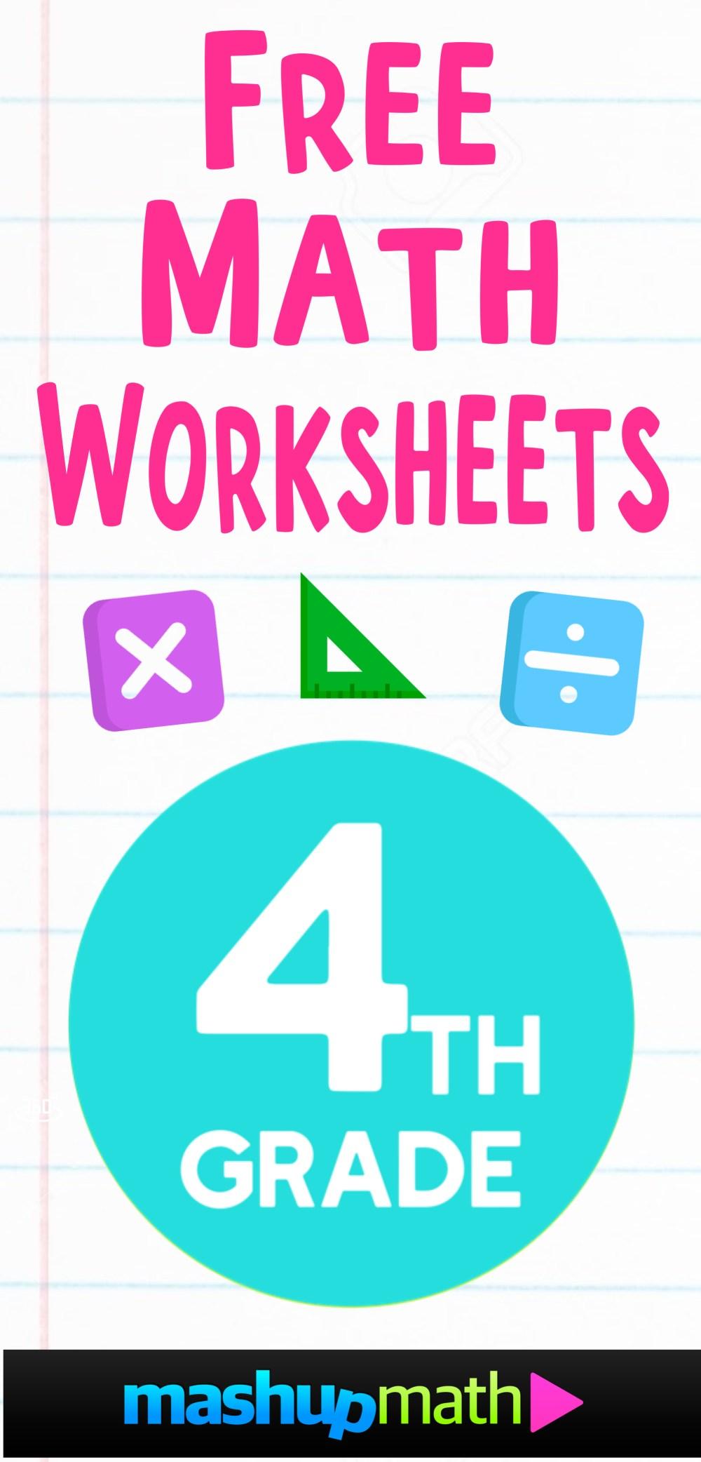 medium resolution of Free 4th Grade Math Worksheets — Mashup Math