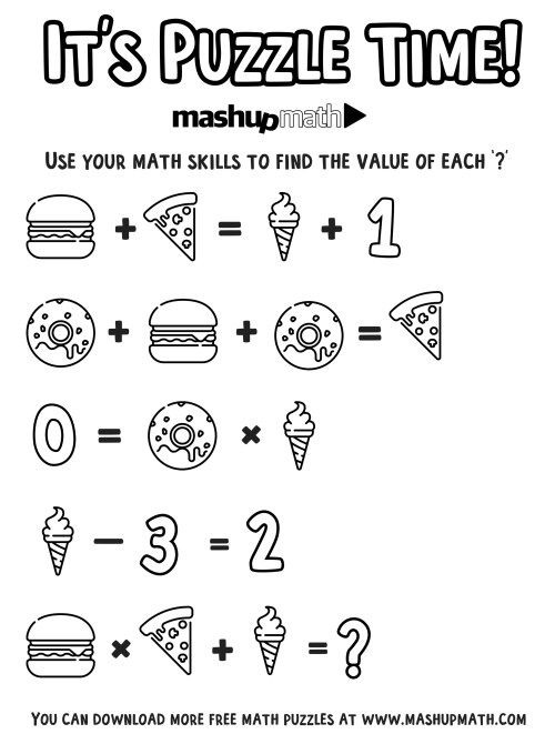 small resolution of Free Math Coloring Worksheets for 5th and 6th Grade — Mashup Math