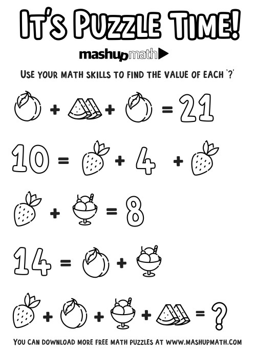 small resolution of Free Math Coloring Worksheets for Grades 1-8 — Mashup Math