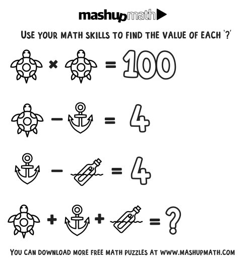 small resolution of Free Math Coloring Worksheets for 3rd and 4th Grade — Mashup Math