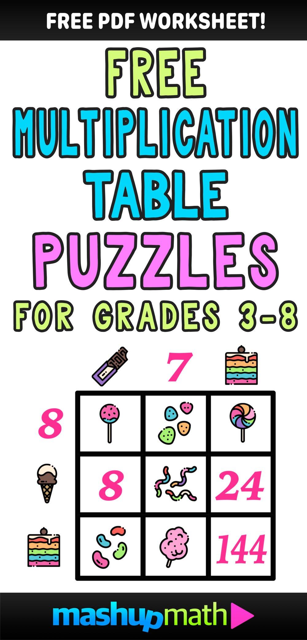 medium resolution of Multiplication Table Worksheets: Free Printable Math Puzzles — Mashup Math