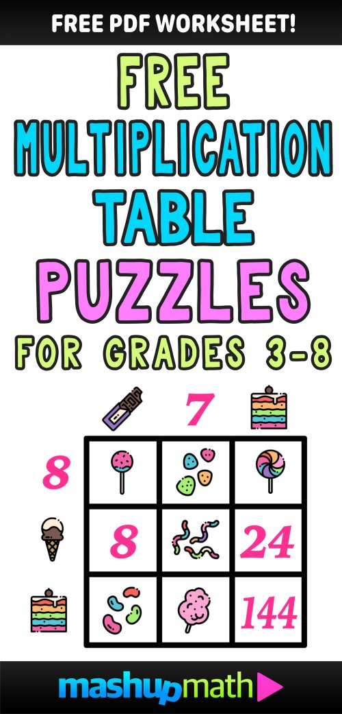 small resolution of Multiplication Table Worksheets: Free Printable Math Puzzles — Mashup Math