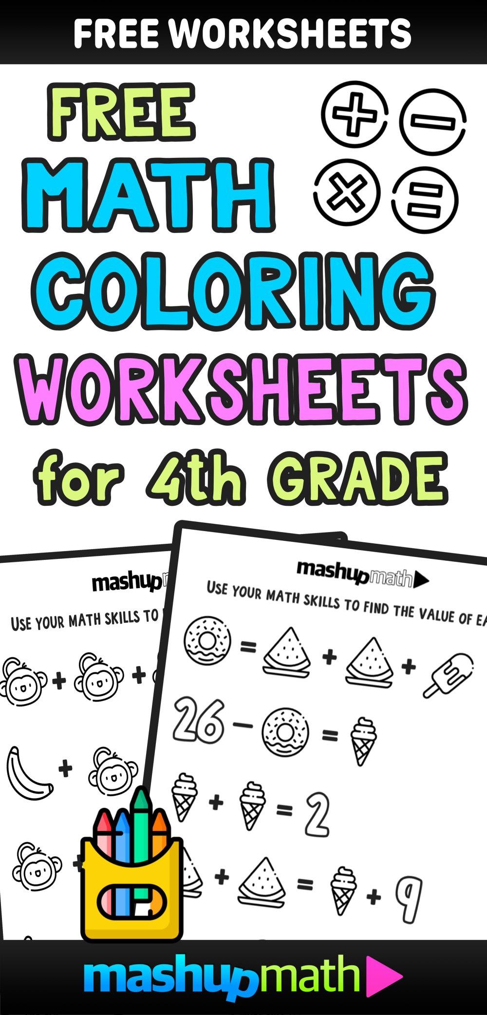medium resolution of Free Math Coloring Worksheets for 3rd and 4th Grade — Mashup Math