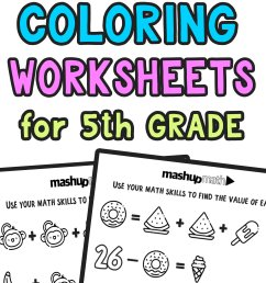 Free Math Coloring Worksheets for 5th and 6th Grade — Mashup Math [ 2084 x 1000 Pixel ]