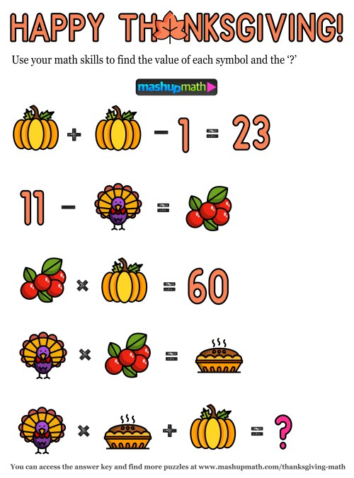 small resolution of 12 Thanksgiving Math Activities for Grades 1-8 — Mashup Math