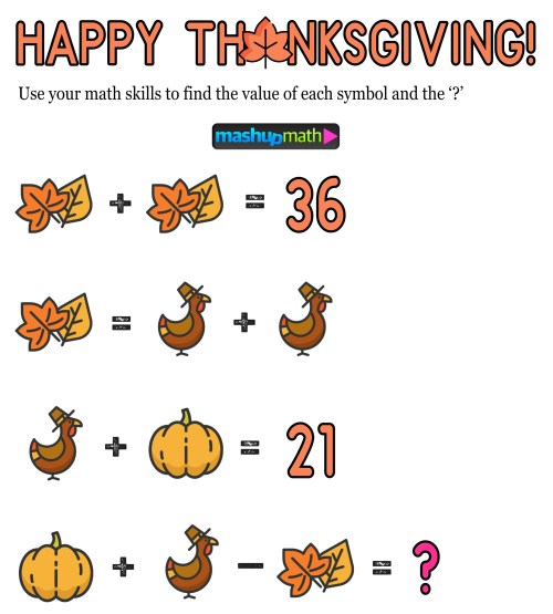 small resolution of 12 Thanksgiving Math Activities for Grades 1-8 — Mashup Math