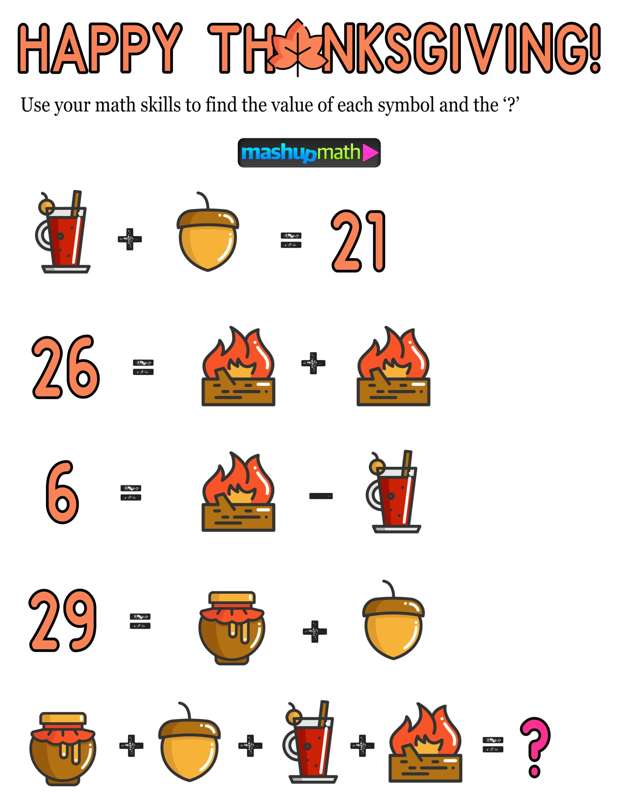 hight resolution of 12 Thanksgiving Math Activities for Grades 1-8 — Mashup Math