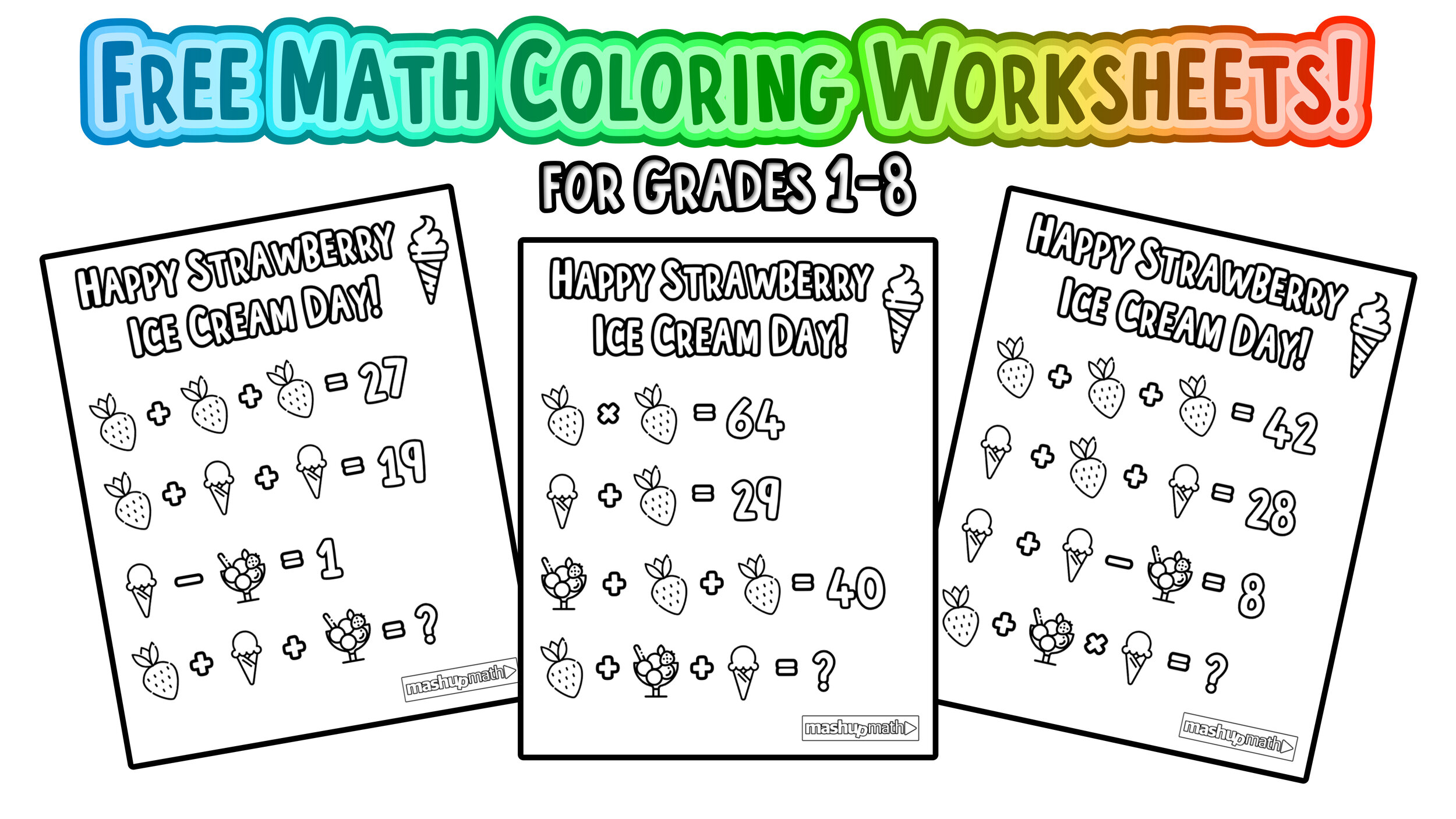 Free Math Coloring Pages for Grades 1-8 — Mashup Math [ 1406 x 2500 Pixel ]