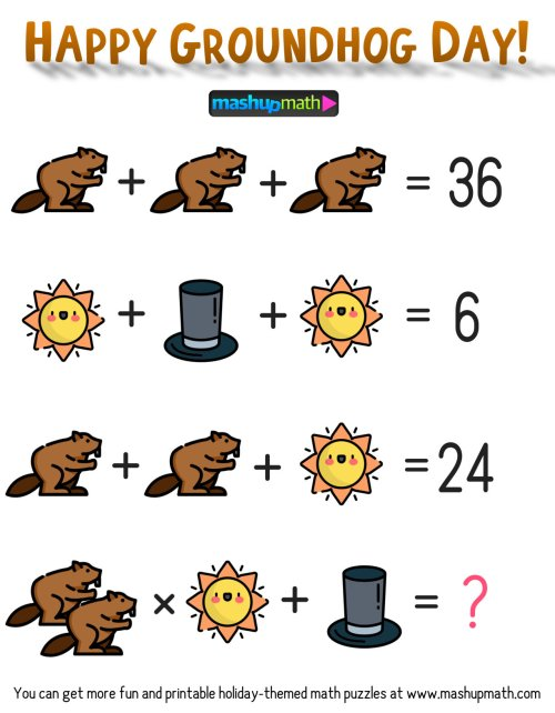 small resolution of Free Groundhog Day Math Puzzle for Grades 3-8 — Mashup Math