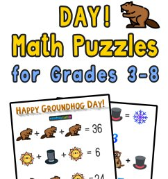 Free Groundhog Day Math Puzzle for Grades 3-8 — Mashup Math [ 2084 x 1000 Pixel ]