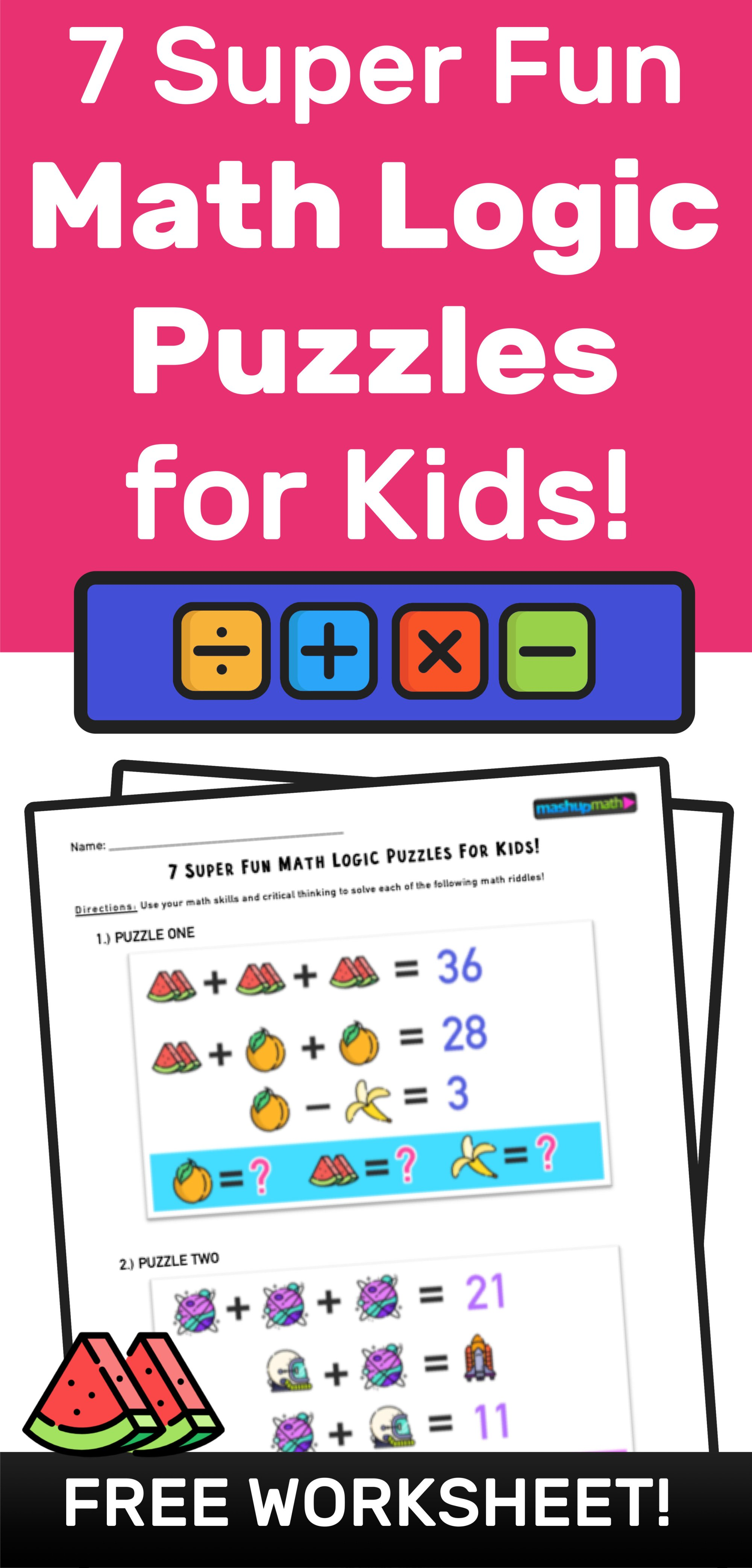 hight resolution of 7 Super Fun Math Logic Puzzles for Kids! — Mashup Math