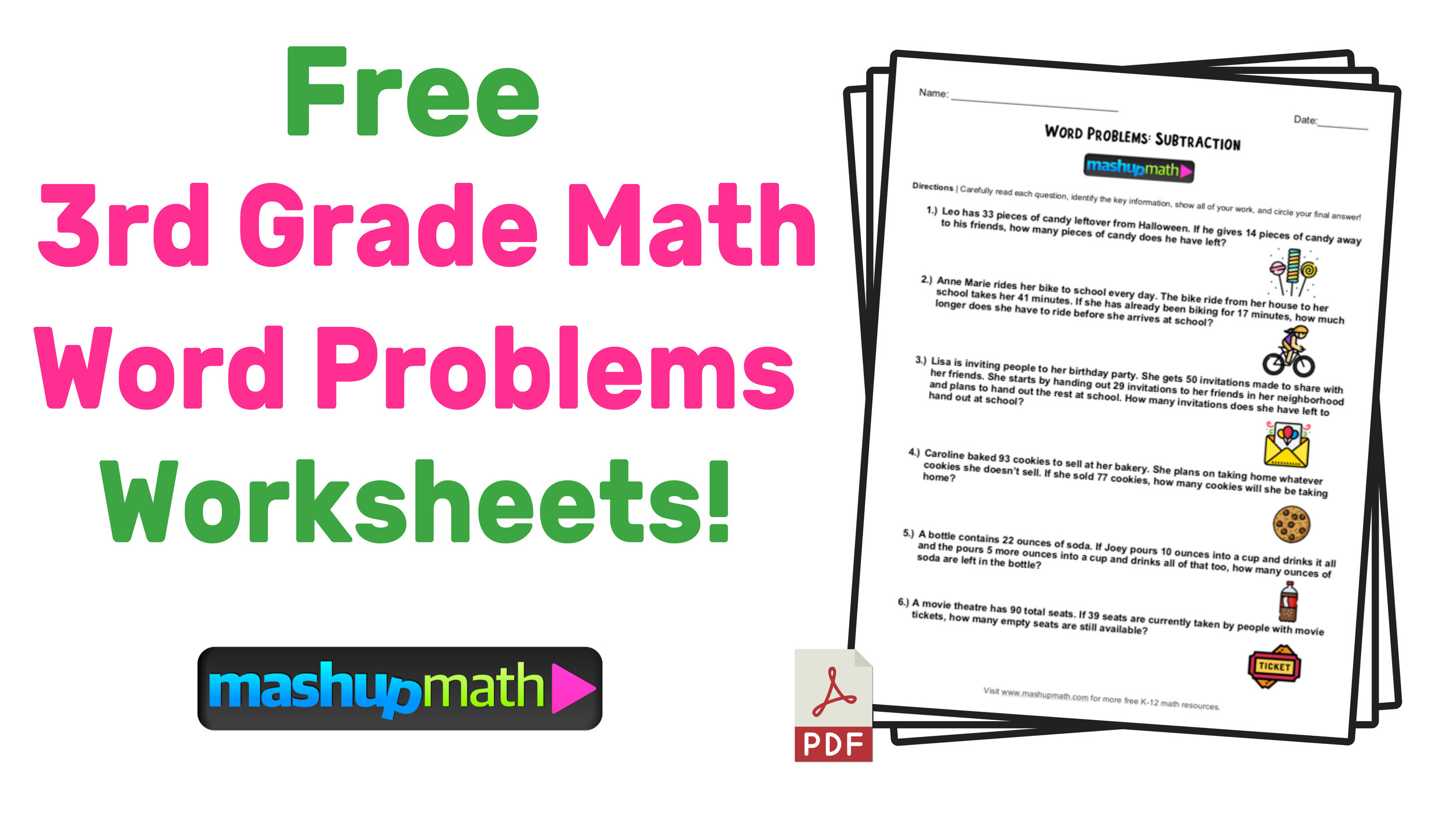 small resolution of 3rd Grade Math Word Problems: Free Worksheets with Answers — Mashup Math