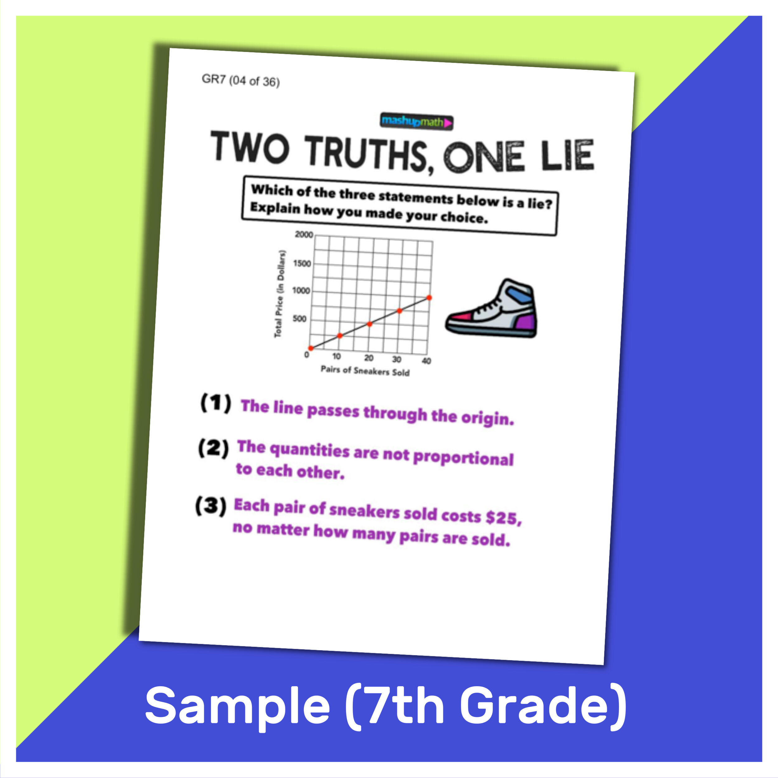 101 Two Truths and One Lie! Math Activities for Grades 6 [ 1000 x 1000 Pixel ]