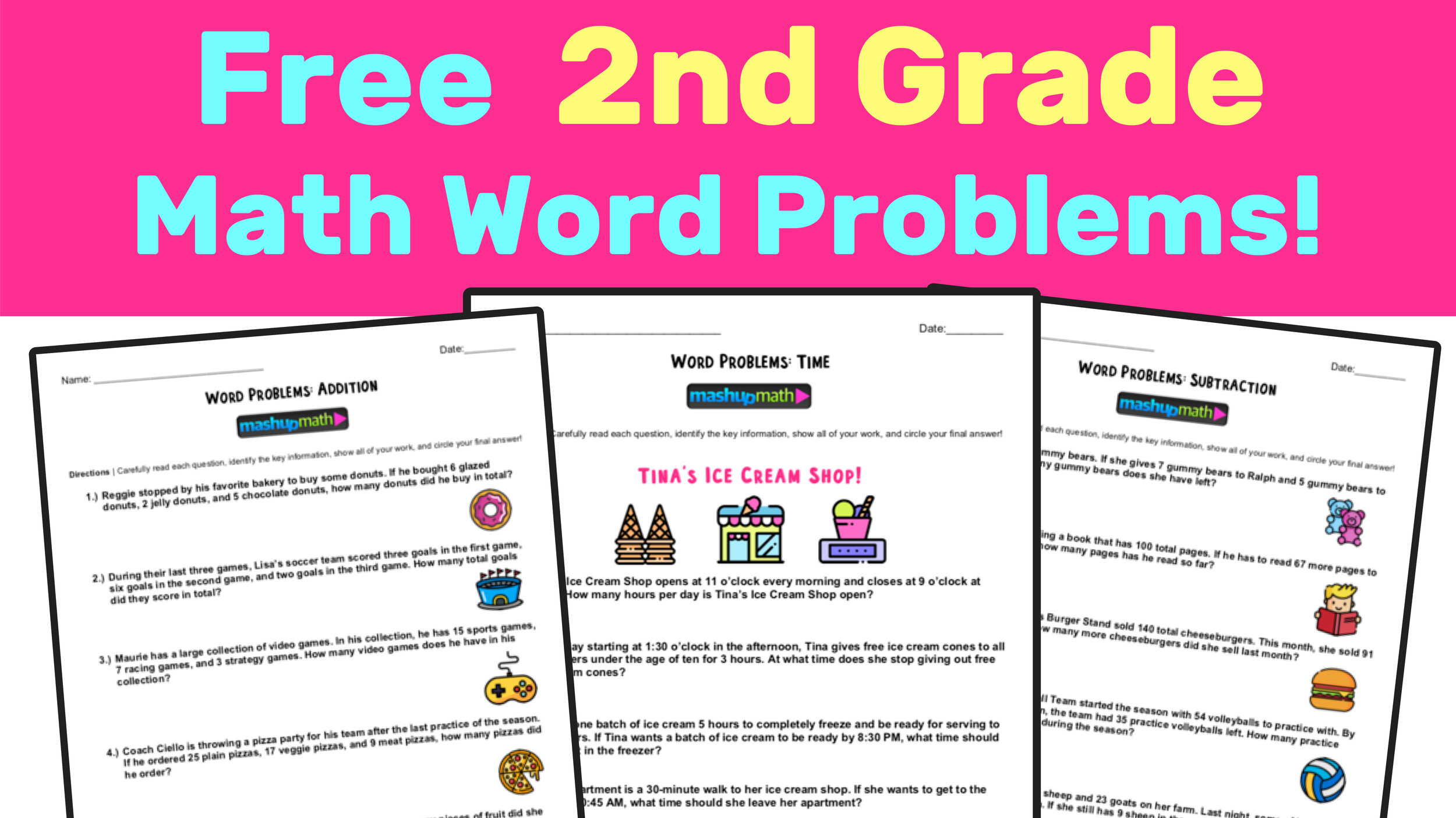 Free 2nd Grade Math Word Problem Worksheets — Mashup Math [ 844 x 1500 Pixel ]