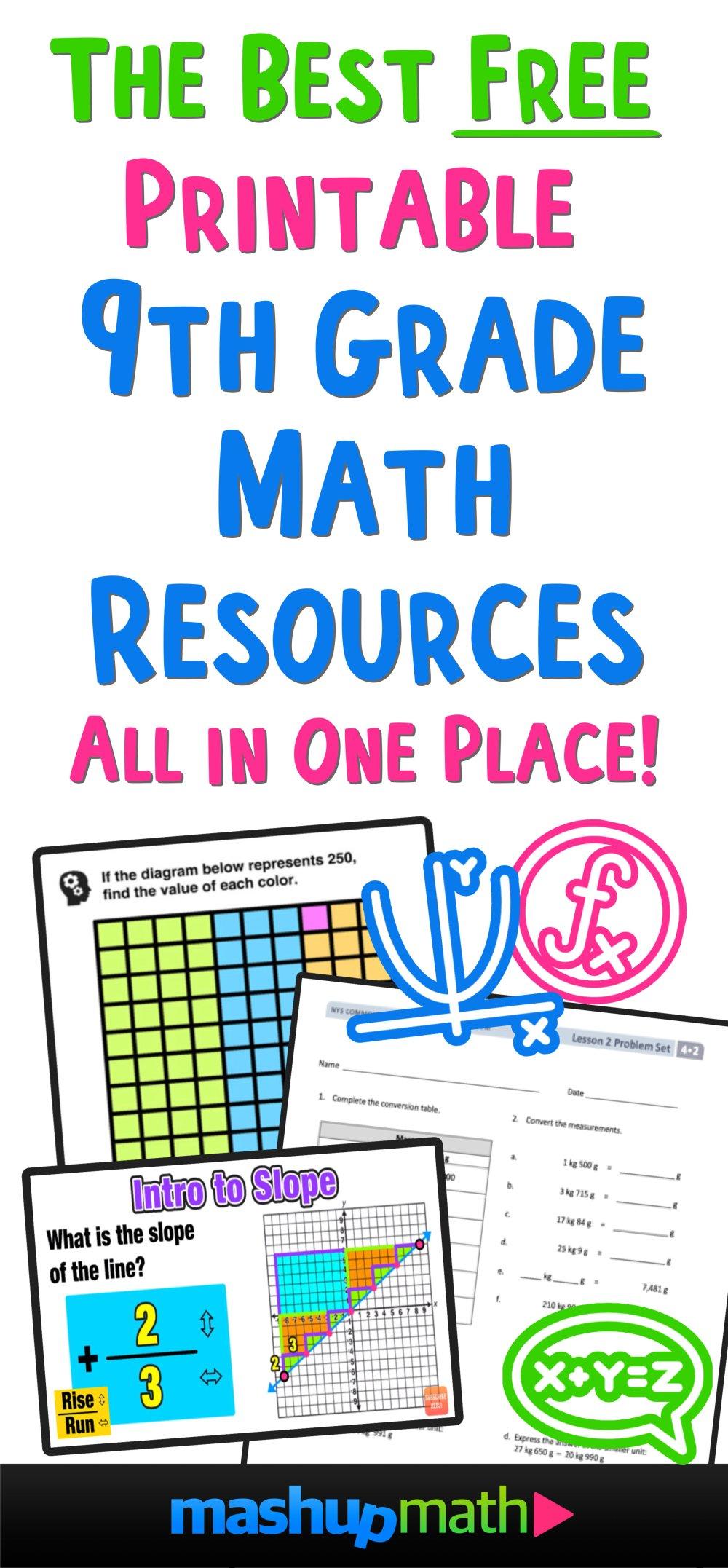 medium resolution of The Best Free 9th Grade Math Resources: Complete List! — Mashup Math