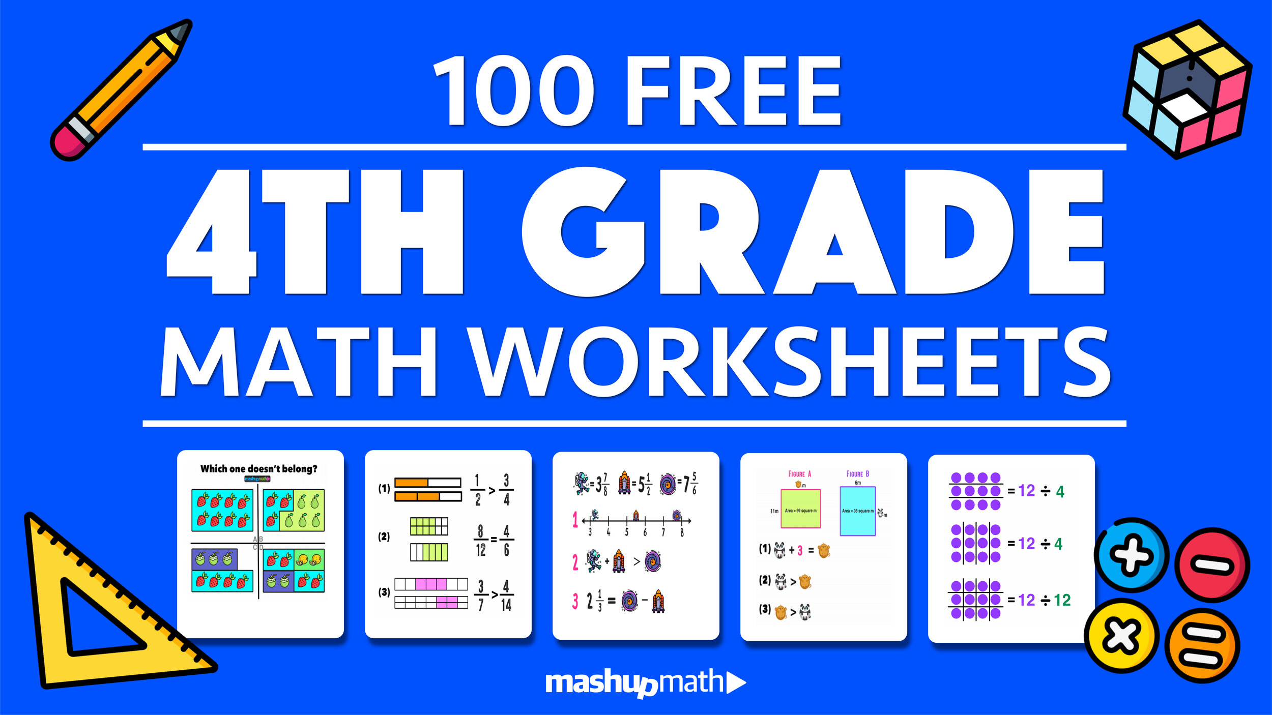 100 Free 4th Grade Math Worksheets with Answers — Mashup Math [ 844 x 1500 Pixel ]