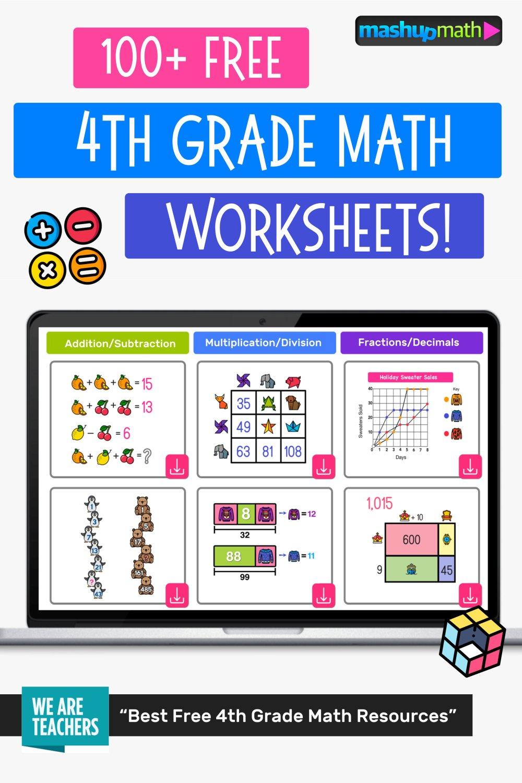 medium resolution of 100 Free 4th Grade Math Worksheets with Answers — Mashup Math