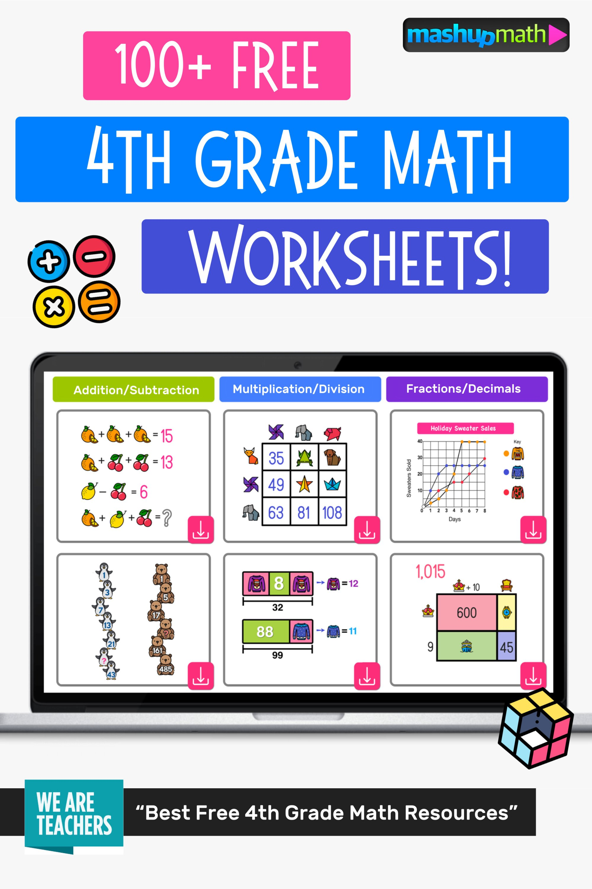 hight resolution of 100 Free 4th Grade Math Worksheets with Answers — Mashup Math