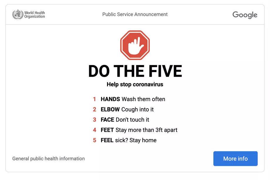 World Health Organization Safety Precautions for Coronavirus