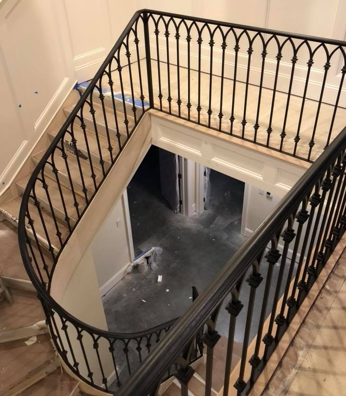 Gallery Of Wrought Iron Interior Railings — Wrought Iron Railings   Wrought Iron Circular Staircase   Wooden   Living Room   Artistic   Rail   Modern