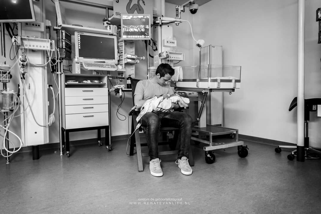 """""""If your baby needs care in the NICU and your wife remains in the obstetrics department immediately after delivery...""""Renate van Lith, Serving the Netherlands, Instagram"""