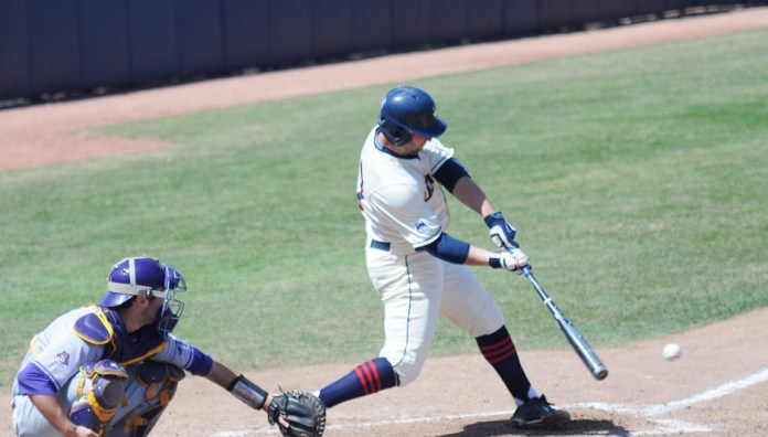 UConn outfielder Blake Davey takesa swing in the Huskies' game against East Carolina at J.O. Christian Field earlier this month. Dave is tied for second on the team with 31 RBI this season. (Brad Watson/The Daily Campus)