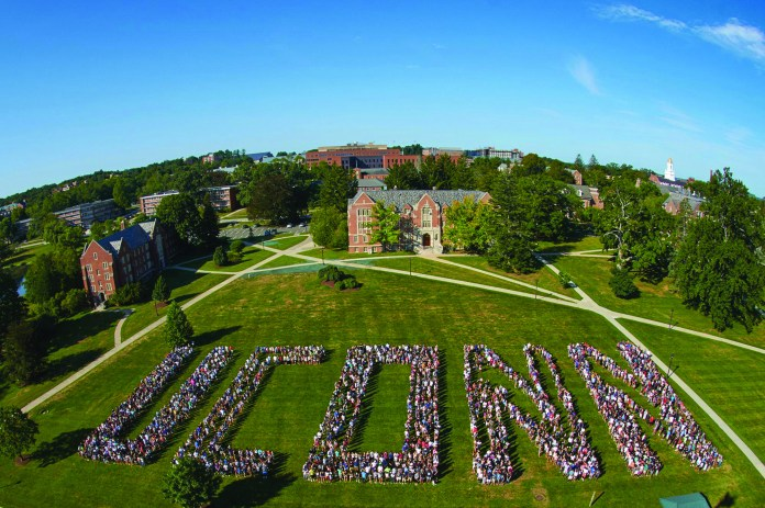 """The UConn Class of 2019 spells out """"UCONN"""" on freshmen move-in day. (Peter Morenus/UConn Photo)"""
