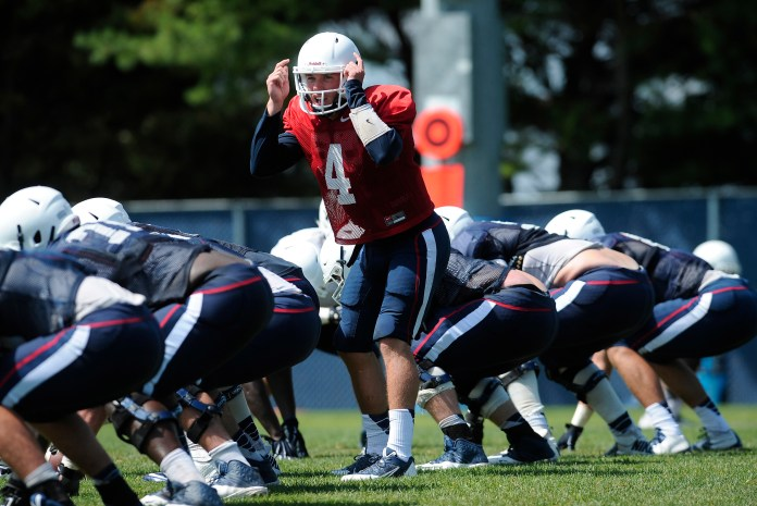 UConn quarterback Bryant Shirreffs calls out to his team during a practice on Wednesday, Aug. 12, 2015, in Storrs, Connecticut. (Jessica Hill/AP)
