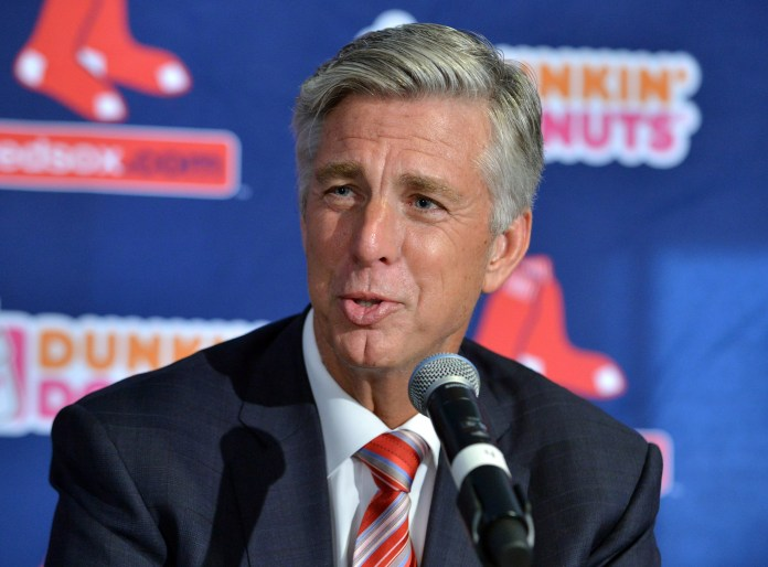 Dave Dombrowski, the Boston Red Sox new president of baseball operations, speaks to reporters after being introduced at a baseball news conference Wednesday, Aug. 19, 2015, at Fenway Park in Boston. (Josh Reynolds/AP)