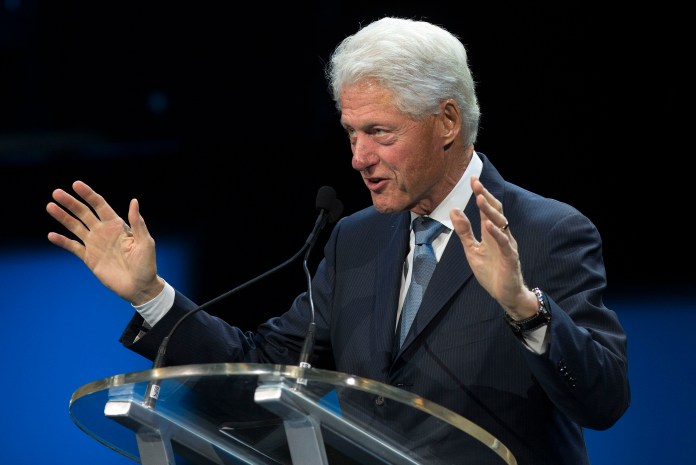 Former President Bill Clinton speaks at an event marking the 10-year anniversary of Hurricane Katrina, Saturday, Aug. 29, 2015, in New Orleans. Clinton will receive the UConn Foundation's Thomas J. Dodd Prize in International Justice and Human Rights on Oct. 15.(Max Becherer/AP)
