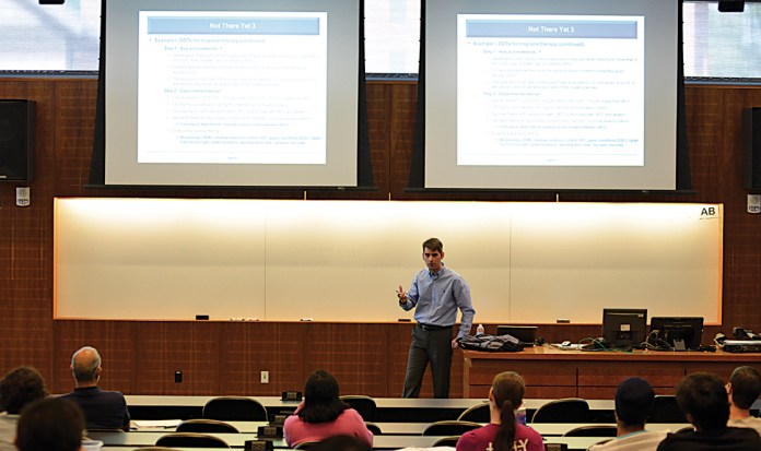 """Henning Gieseler,co-founder of GILYOS, a German pharmaceutical company,speaks at his lecture """"Freeze Drying of Pharmaceuticals: a Survey of Accomplished Research, Ongoing Projects and Future Outlook"""" on Tuesday, Sept. 8, 2015. (Jason Jiang/The Daily Campus)"""