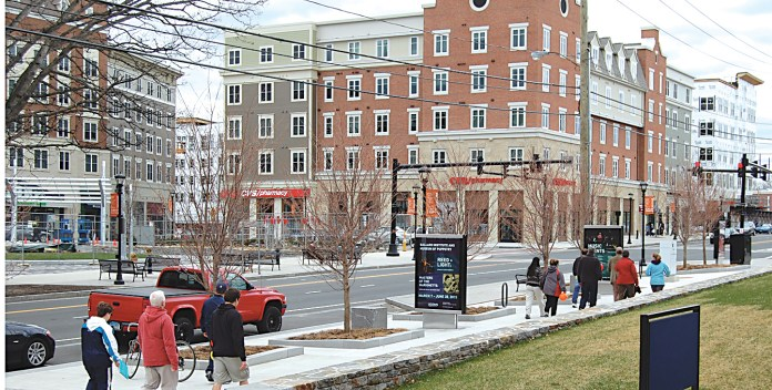 In this photo, the Storrs Center development is pictured. Storrs Center has been nominated for the Urban Land Institute (ULI) Global Awards for Excellence. (Ashley Maher/The Daily Campus)