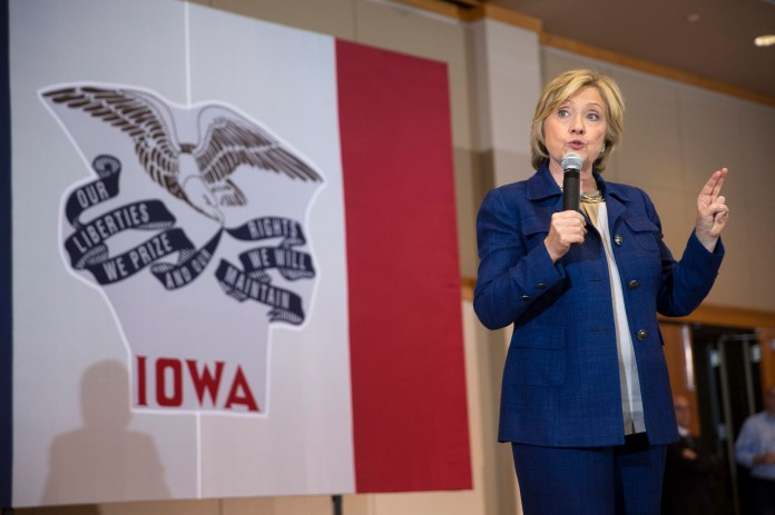 Democratic presidential candidate Hillary Rodham Clinton speaks during an organizing event at the University of Northern Iowa, Monday, Sept. 14, 2015, in Cedar Falls, Iowa. (Scott Morgan/AP)