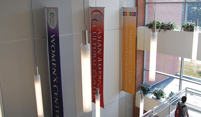 In this photo, banners of various student organizations and cultural centers are pictured in the Student Union.Students had the chance to learn about the many cultural centers and organizations on campus at UConn's Cultural Center Open House on Wednesday. (Ashley Maher/The Daily Campus)