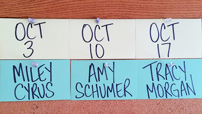 """The first three guests for the 41st season of """"SNL"""" include Miley Cyrus, Amy Schumer, Tracy Morgan and musical guests to complement the actors (Courtesy/NBC)."""