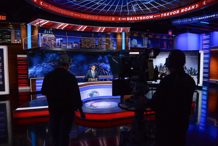 """Trevor Noah on set during a taping of """"The Daily Show with Trevor Noah"""" on Tuesday, Sept. 29, 2015, in New York. (AP)"""