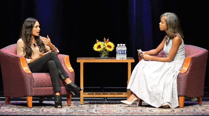 Rosario Dawson (left) speaks at the Jorgensen Center for the Performing Arts in Storrs, Connecticut on Wednesday, Oct. 7, 2015. (Jason Jiang/The Daily Campus)