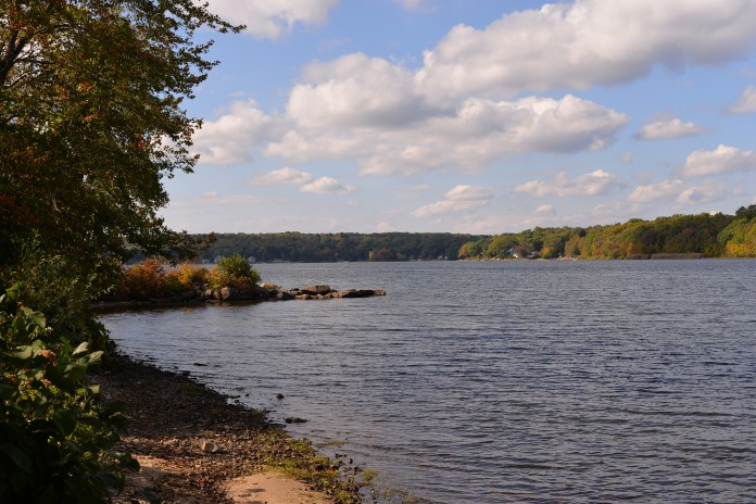 In this photo, Coventry Lake is pictured in Storrs, Connecticut.Invasive hydrilla found in the lake could reduce the area's recreational value for boaters and other residents, UConn professor Don Les said. (Ashley Maher/The Daily Campus)
