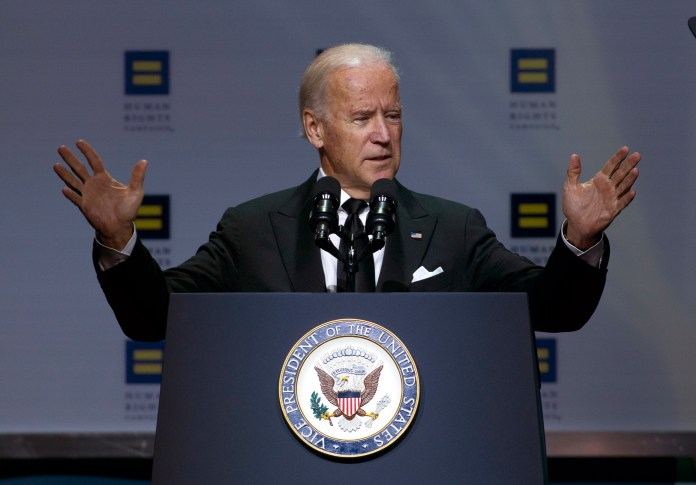 Vice President Joe Biden speaks during Human Rights Campaign National Dinner at Walter E. Washington Convention Center, in Washington, Saturday, Oct. 3, 2015. (Jose Luis Magana/AP)