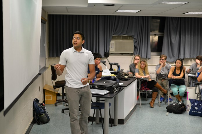 USG comptroller Parth Rana speaks during the Undergraduate Student Government caucus in the Torrey Life Science Building on Wednesday, Oct. 21, 2015. (Jason Jiang/The Daily Campus)