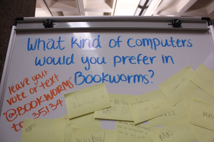In this photo, a whiteboard is pictured on the second floor of the Homer D. Babbidge Library asking students for feedback on what kind of computers they would prefer in the Bookworms section of the library. (Marissa DiBella/The Daily Campus)