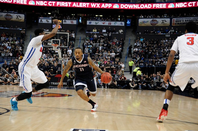 In this file photo, former UConn men's basketball guard Ryan Boatright drives down the lane during the Huskies game against SMU at the 2015 American Athletic Conference Championship at XL Center in Hartford, Connecticut on Sunday, March 15, 2015. (File Photo/The Daily Campus)